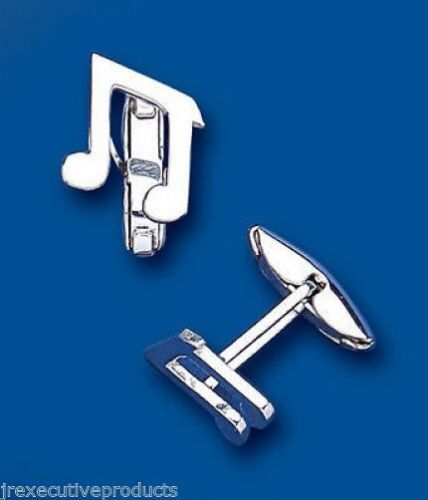 Quaver Musical Note Cufflinks Solid Sterling Silver